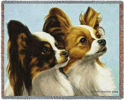 Throw Tapestry Afghan - Papillon Pair by Bob Christie 3308