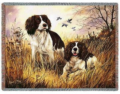 Throw Tapestry Afghan - English Springer Spaniel Pair by Robert May 1134