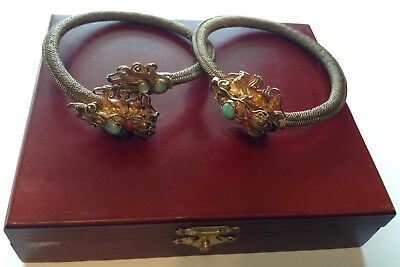 Pair Of Rare Antique Chinese Vermeil Silver Jeweled Dragon Mesh Bracelets