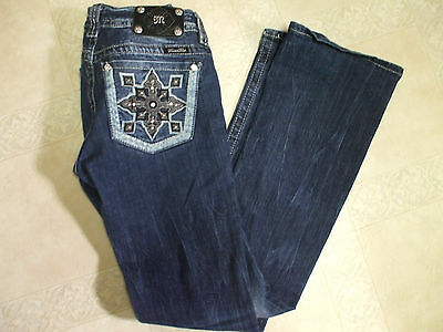 "MISS ME ""Buckle"" Signature Rise BOOT Jeans Women 28 Long Inseam 34 ~ NEW wo Tags"