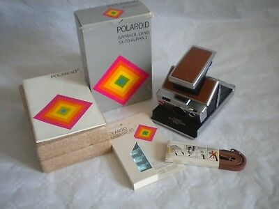 Polaroid Land camera SX-70 Alpha 1 boxed with instructions flash and strap