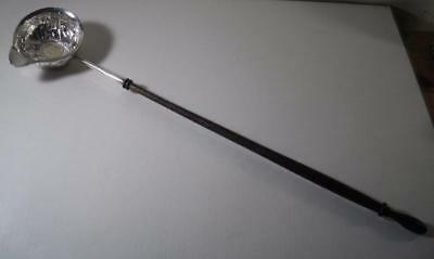 A George II Silver Toddy Ladle w. Wooden Handle & Inset Sixpence : London 1757