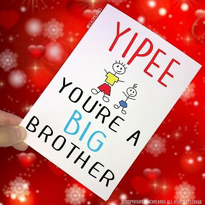 Congratulations Card Yipee You're A Big Brother New Baby New Sibling Cards PC105