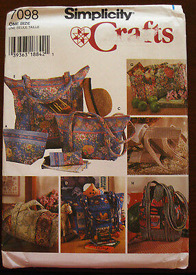 Simplicity Quilted Bag Duffle Luggage Eyeglasses Case Purse Pattern 7098 UC