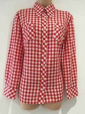 Vintage 1970's Retro Red & White Gingham Check Long Sleeve Shirt Size 14