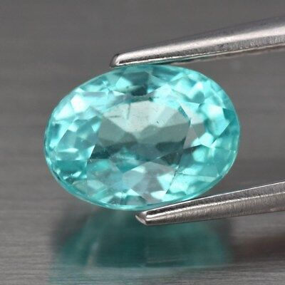 1.12ct 7x5mm Oval Natural Unheated Paraiba-Color Neon Green Blue Apatite, Brazil