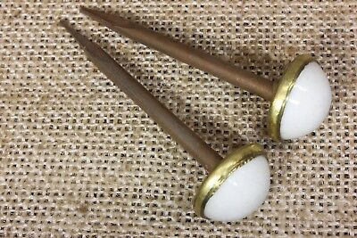 "2 Picture Nails artwork hangers old white porcelain vintage 2 1/2 x 3/4"" antique"