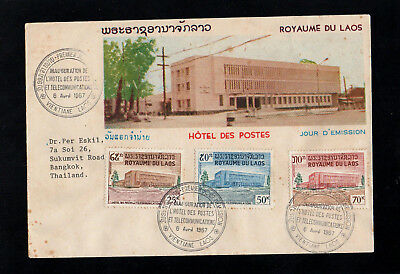 Laos - 1967 - New Gpo Building - First Day Cover To Thailand - With Cds Postmark