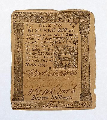 3/25/1775 US Colonial Currency Pennsylvania 16 Shillings VERY FINE