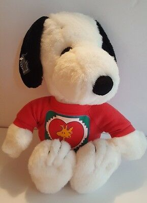 """Peanuts Applause Snoopy Stuffed Plush with Red Woodstock T-shirt 15"""" P5"""