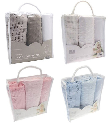 Moses basket set baby bedding 3PCE fitted sheet cellular blanket bubble