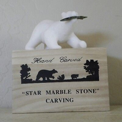 Large Star Marle Stone Carved Polar Bear With Jade Fish Mint In Box