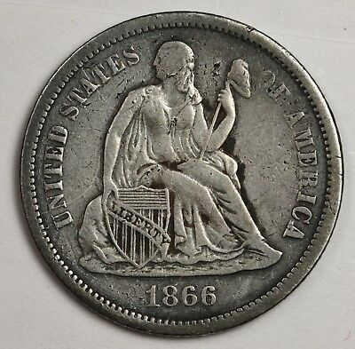 1866-s Seated Liberty Dime.  V.F.  123480