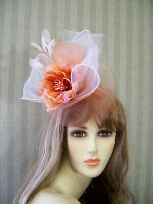 f5a393bef3dff Peach and White Fascinator