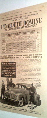 1941 Plymouth Automobile Original Ad In French