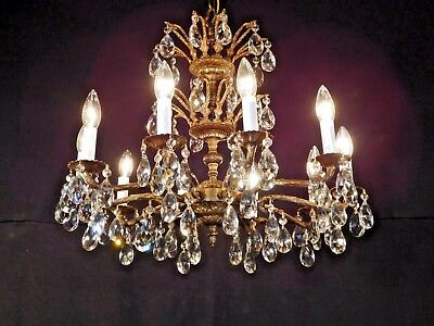 MAGNIFIQUE Antique French 10 Arm 10 Lite Cut Lead Crystal Bronze Chandelier