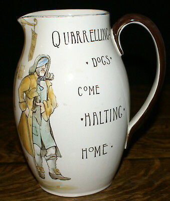 """Royal Doulton Series Ware 8"""" Tall Pitcher * Quarrelling Dogs Come Halting Home"""