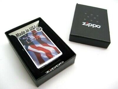Zippo Brushed Chrome Made In USA American Flag Classic Windproof Lighter 24797