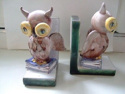 PAIR EARLY TO MID 20th CENTURY AUSTRIAN CERAMIC OWL BOOKENDS