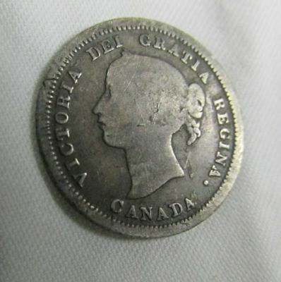 1858 Five 5 Cents Silver Canada , Canadian Silver Coin, Queen Victoria