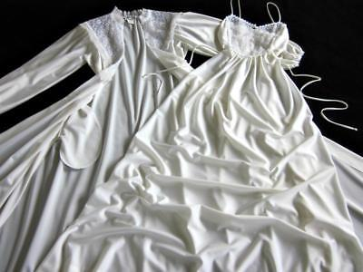 Vintage Christian Dior Long Lacy Gown + Robe Peignoir Set XS NEW Ivory Bride