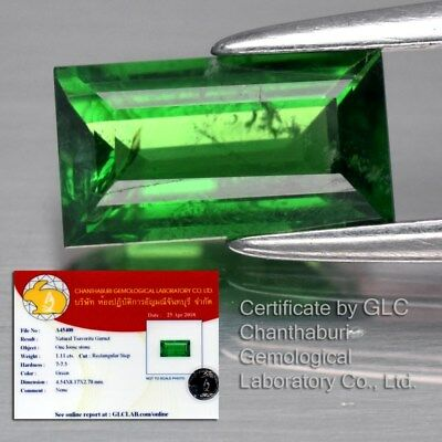 1.11ct 8x4.5mm Rectangular Natural Green Tsavorite Garnet, Tanzania *Certified