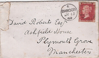 1869 QV RARE COVER WITH 1d PENNY RED STAMP NORTH WALES DINORWIC VILLAGE POSTMARK