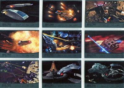 Star Trek DS9 Heroes & Villains Ships of the Line Complete 9 Card Chase Set