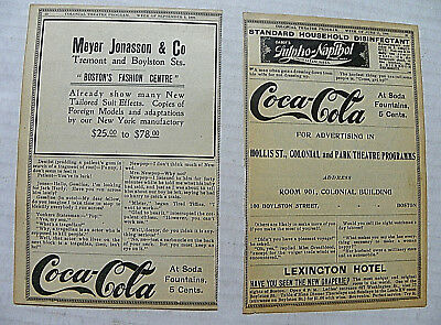 """(Lot Of 2) 1906 """"coca-Cola"""" Advertisements In Colonial Theatre Program Page"""