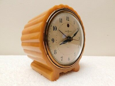 VINTAGE 1930s ART DECO CATALIN BAKELITE ANTIQUE GENERAL ELECTRIC CLOCK & WORKS