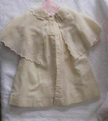 Antique Wool Flannel Baby Coat w/Shawl Cape~Silk Embroidery~Entirely Hand Stitch