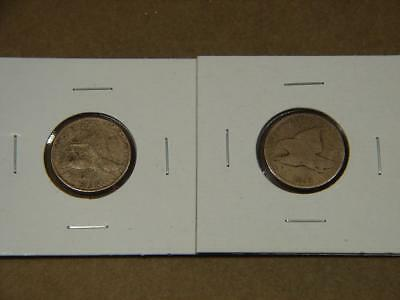 1857 1858 Flying Eagle Cent Coin Lot Of 2