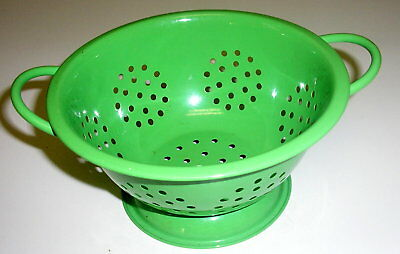 """Small Bright Lime Apple Green Enameled 6"""" Strainer Colander NEW"""