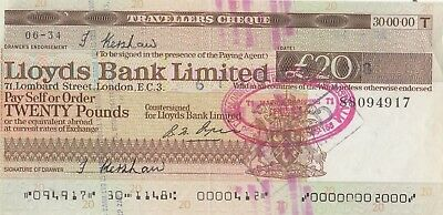 Lloyds Bank Limited London UK cheque with South Australia 8c stamp duty at back