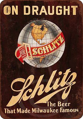 1947 Schlitz beer Puppies dogs Vintage Reproduction Metal Sign 8 x 12
