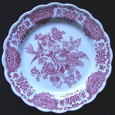 "10"" Red & White Ridgway Windsor Plate Scalloped Very Pretty - Please See Photos"