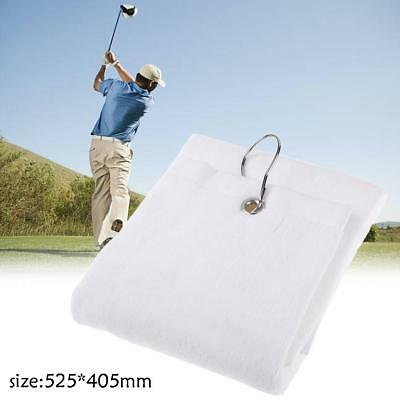 100% Cotton 525x405mm White Hand Towel Washcloth w/ Hook for Golf Outdoor Sports