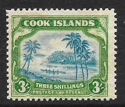 Cook Islands 1938 3/- Greenish Blue & Green SG 129 (Mint)