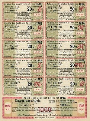 Bond Germany Reich Coupon 1922 1000 Inflation Stocks Berlin