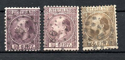 NETHERLANDS , 1867 , THREE scarce classic 25 c. and 50 c. stamps , USED