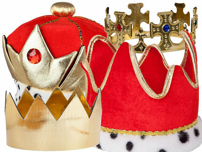 Adult Gold Kings Crown Prince Jewelled Royalty Mens Ladies Fancy Dress Accessory