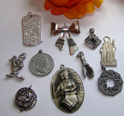 Vintage Lot Of 10  Necklace Pendants Pewter,rhinestone & More