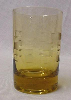 Retro Amber Juice Glass Etched Pattern Vintage Collectible Mint