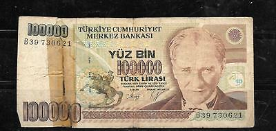 TURKEY #205a AG CIRC 100000 LIRA BANKNOTE PAPER MONEY CURRENCY BILL NOTE