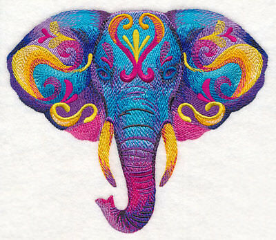 Embroidered Fleece Jacket - Vibrant Elephant in Watercolor M12240 Sizes S - XXL