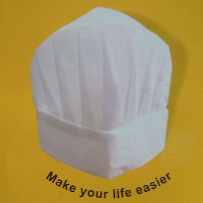 Chef's White Paper Hats Pack of 7 Chef Catering Toque, Food Hygiene Disposable