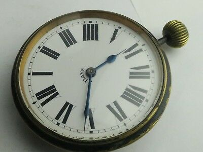 Antique 8 day Desk Traveling clock  watch movement and dial  working