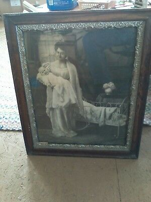antique photo Victorian Mother & Child Gesso frame late 1800's ornate 20x25