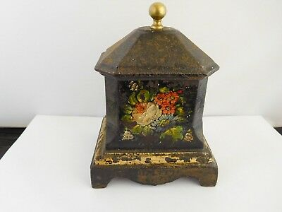 Very Early Hand Painted  Cast Iron Tea Caddy - Coalbrookdale  ??