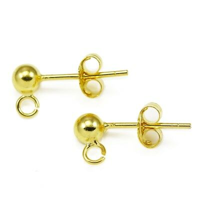 Gold Vermeil 925 Sterling Silver Ball Earring Stud Posts Jewellery Findings 4mm